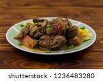stewed chicken liver with apple ...   Shutterstock . vector #1236483280