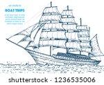 sail ship hand drawn sketch.... | Shutterstock .eps vector #1236535006