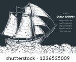 sail ship hand drawn sketch....   Shutterstock .eps vector #1236535009
