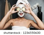 beautiful young woman with... | Shutterstock . vector #1236550630