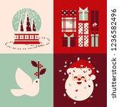 set of retro christmas cards... | Shutterstock .eps vector #1236582496