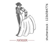 matador. man in hand drawn... | Shutterstock .eps vector #1236584776