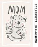 happy mothers day  mother koala ... | Shutterstock .eps vector #1236585823