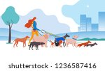 Stock vector vector illustration set cartoon style icons of dogs and personal dog walker in the city different 1236587416