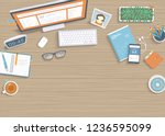 wooden table with monitor  book ... | Shutterstock .eps vector #1236595099