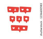 red social media bubble shape... | Shutterstock .eps vector #1236600583