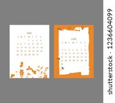 floral 2019 calendar. yearly... | Shutterstock .eps vector #1236604099