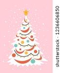 christmas fir on a pink... | Shutterstock .eps vector #1236606850
