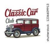 retro sedan. side view. classic ... | Shutterstock .eps vector #1236609913