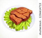 roasted pork steak on lettuce... | Shutterstock .eps vector #1236614713