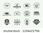 set of vintage camping outdoor...   Shutterstock .eps vector #1236621706