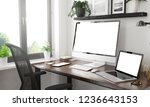 black and white home office...