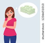 young woman thinking cash  ... | Shutterstock .eps vector #1236651013