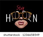 hidden slogan with woman face... | Shutterstock .eps vector #1236658549