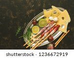 prosciutto  maasdam cheese and... | Shutterstock . vector #1236672919