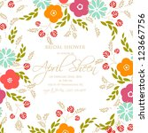 wedding card or invitation with ... | Shutterstock .eps vector #123667756