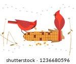 cute red northern cardinal...   Shutterstock .eps vector #1236680596