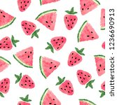 seamless watermelon and... | Shutterstock .eps vector #1236690913