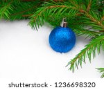 blue new year ball with green... | Shutterstock . vector #1236698320