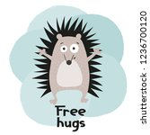 hand drawn funny hedgehog.... | Shutterstock .eps vector #1236700120