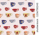 repeat pattern of vintage hand... | Shutterstock . vector #1236700243