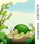 illustration of a turtle lying... | Shutterstock .eps vector #123670174