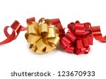 color photo of a bow and ribbon | Shutterstock . vector #123670933