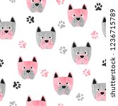 seamless cute dog pattern.... | Shutterstock .eps vector #1236715789