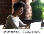 focused african american woman... | Shutterstock . vector #1236719593