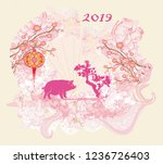 chinese zodiac the year of pig  ...   Shutterstock . vector #1236726403