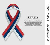 flag of serbia on stripe ribbon ... | Shutterstock .eps vector #1236726520