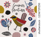 seasons greetings print design...   Shutterstock .eps vector #1236729250