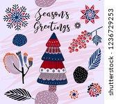 seasons greetings print design... | Shutterstock .eps vector #1236729253