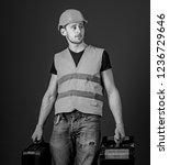 equipped repairman concept. man ... | Shutterstock . vector #1236729646