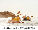 two families walks by kayak or... | Shutterstock . vector #1236732946