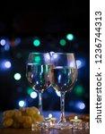 white sweet wine in groceries...   Shutterstock . vector #1236744313