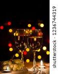white sweet wine in groceries...   Shutterstock . vector #1236744319