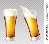 vector realistic golden beer... | Shutterstock .eps vector #1236747400