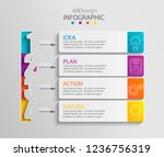 paper infographic template with ... | Shutterstock .eps vector #1236756319