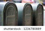 row of outdoors mailboxes in ny ... | Shutterstock . vector #1236780889