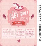 baby girl baby shower invitation card template vector/illustration - stock vector