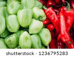 heap of red hot chilli and... | Shutterstock . vector #1236795283