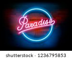 """paradise""  vector neon sign in ... | Shutterstock .eps vector #1236795853"