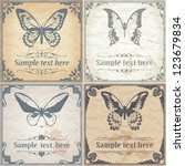 butterfly on paper background... | Shutterstock .eps vector #123679834