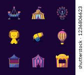 cute lion with set icons circus | Shutterstock .eps vector #1236806623
