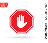 stop sign push hand. do not... | Shutterstock .eps vector #1236819700