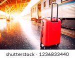 traveling luggage and trains in ... | Shutterstock . vector #1236833440