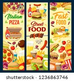 fast food menu banners with... | Shutterstock .eps vector #1236863746