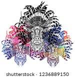 a deer with an ethnic headdress.... | Shutterstock .eps vector #1236889150