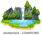 isolated waterfall in nature... | Shutterstock .eps vector #1236901900